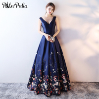 Navy Blue Evening Gowns Long Sexy V neck Sleeveless Open Back Ball Gown Printed Flower Satin Plus Size Evening Dresses
