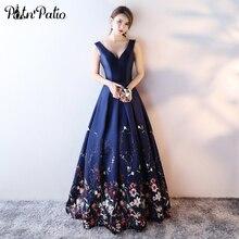 PotN'Patio Printed Floral Satin Evening Dresses Long 2017 New Elegant V-neck Shoulder Straps Navy Blue Evening Gown