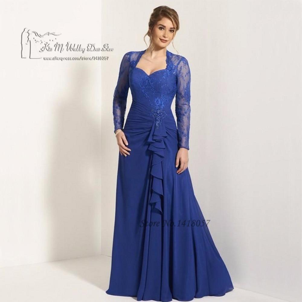 Vestido de madrinha azul royal longo com manga