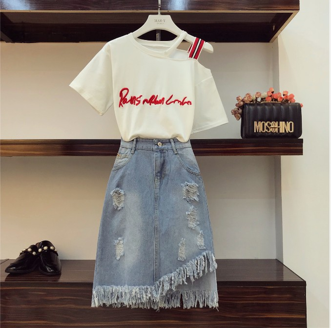 439176b0e25ab 2018 New Fashion Summer Women Students Off Shoulder Letters T-shirt + High  Waist Irregular Tassel Fringed Denim Skirt Twinset
