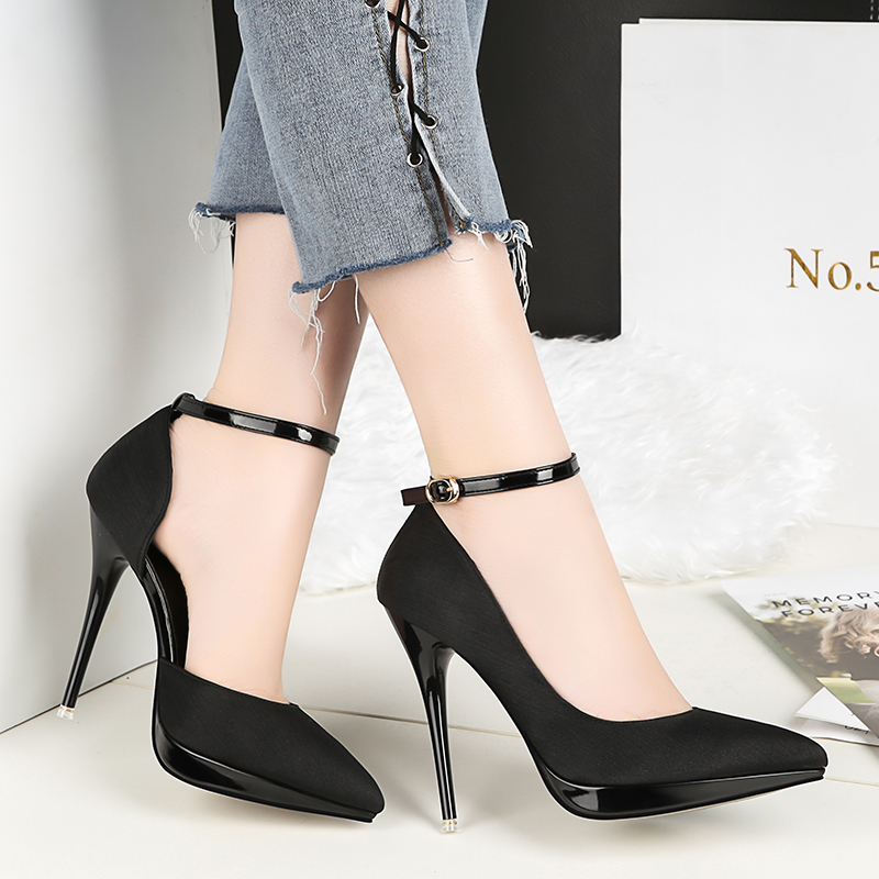 2018 Summer Women 12cm Thin Extreme High Heels Satin Silk Pumps Female Elegant Sweet Heels Shoes Scarpins Buckle Cheap Shoes 25