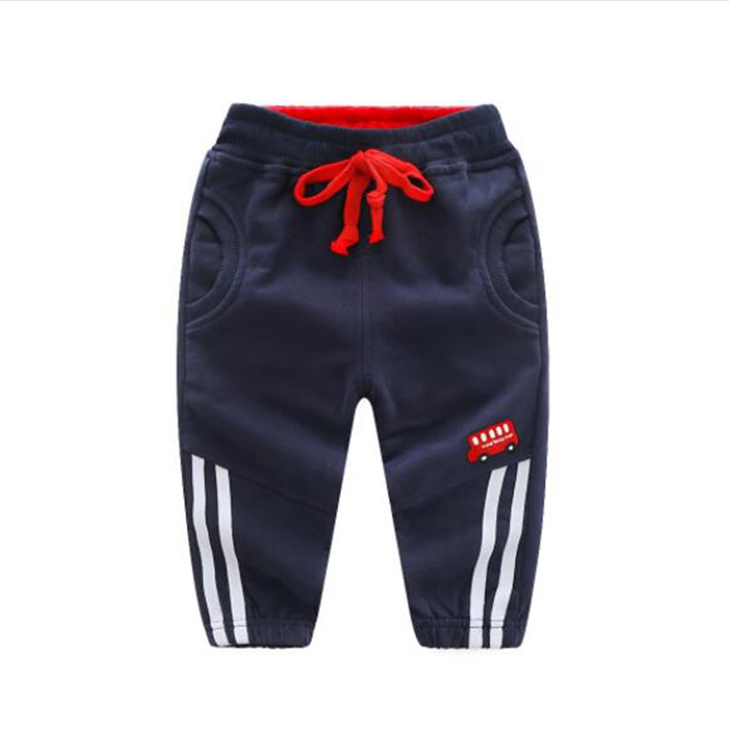 Funfeliz 2018 Spring Baby Boy Pant Blue Grey Sports Pants for Boys Cotton Elastic Waist Kids Pants 90-130CM
