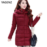 YAGENZ Pure Cotton Women Long Section Thickening 2019 Winter New Slim Hooded Women Korean Version Feather Cotton tide Coat B009