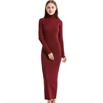 2020 New Fashion Women Sexy Party Dress Knit style Long Sleeve Turtleneck Winter Maxi Dress Slim Work Wear Office Dress Vestidos 1