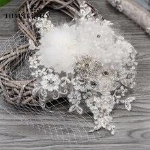Handmade Wedding Bridal Hair Accessories Feather Flower Pins Lace Net Rhinestones Women Jewelry