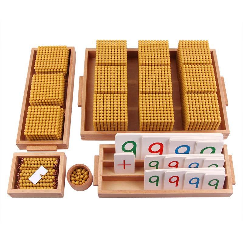 Montessori mathématiques Instruments décennie banque jeux bois jouets maternelle petite enfance éducation jouets or perle jouets - 2