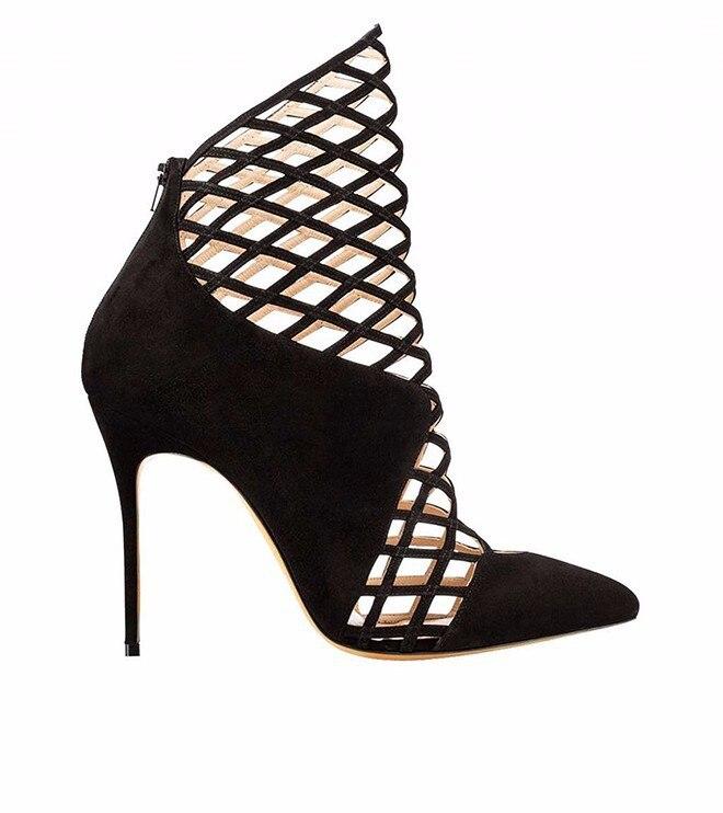 Femmes Geomatric D'été Chaussures Pointu Bout Courte Haut Cheville Losange Talons Black Cuir Dames Chaussons Suédé Bottines Stiletto Découpes En UVGqzpSM