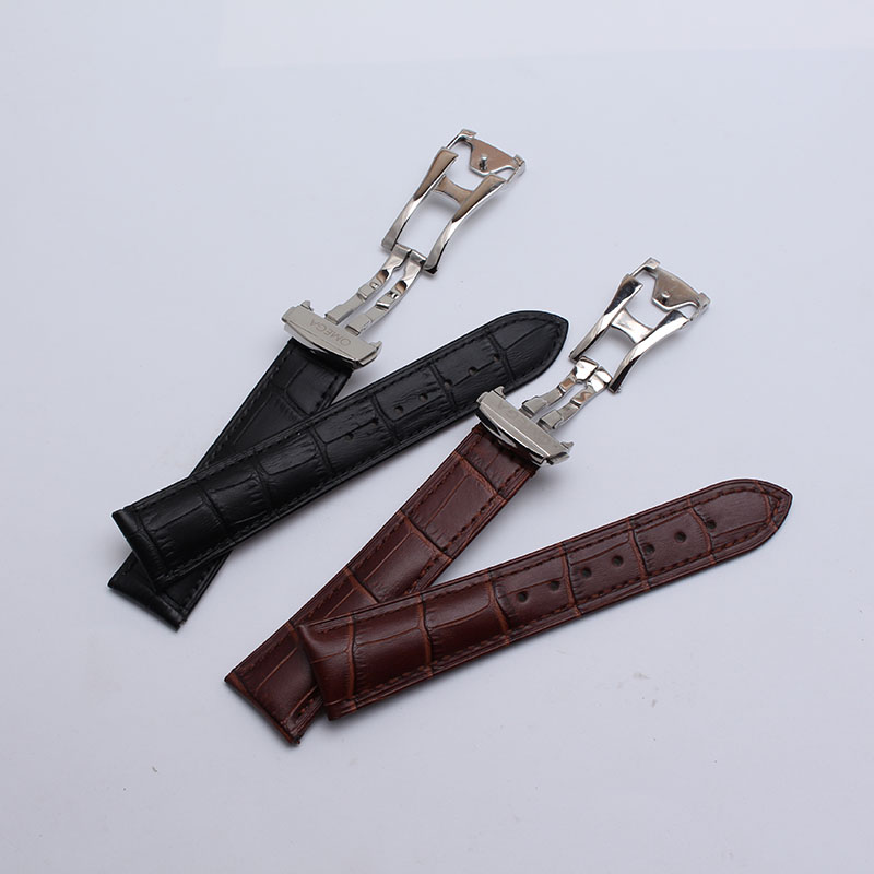High quality Black Brown Genuine Leather Watchband rosegold Butterfly Clasp 20mm 22mm Watch Strap Fashion watch