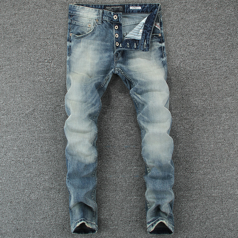 Italian Vintage Designer Men Jeans Light Blue Slim Fit Denim Buttons Pants Classical Simple Jeans Homme Cotton Brand Jeans Men