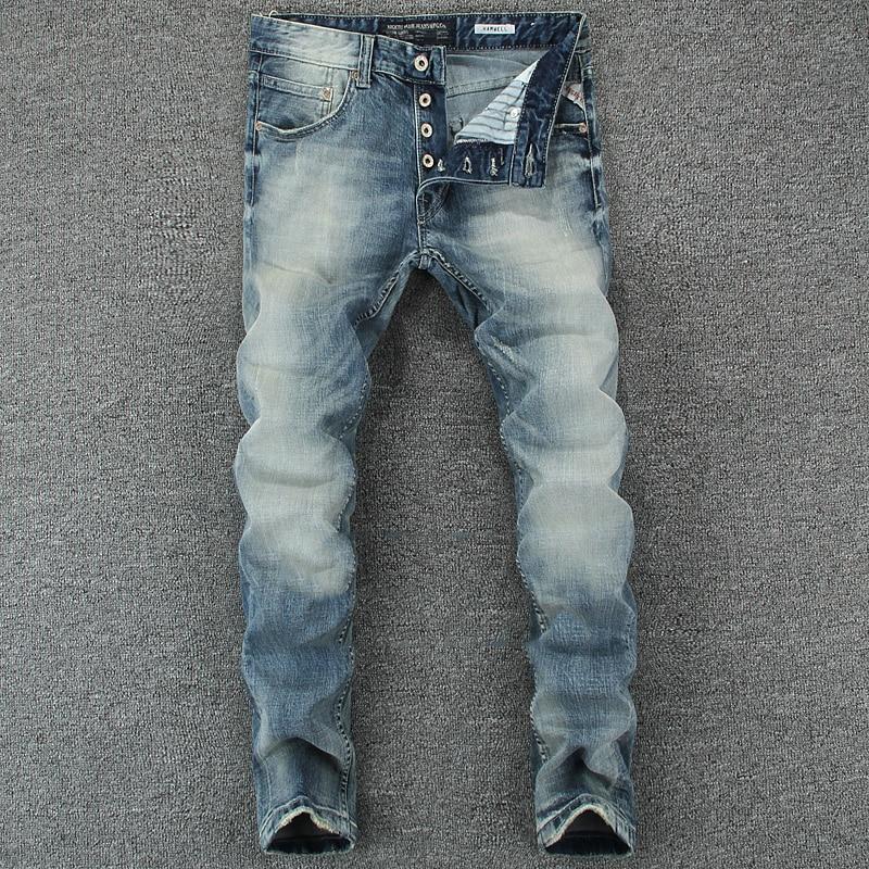 Italian Vintage Designer Men Jeans Light Blue Slim Fit Denim Buttons Pants Classical Simple Jeans Homme Cotton Brand Jeans Men
