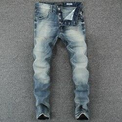 Italiano Vintage diseñador hombres Jeans azul claro Delgado ajuste Denim botones pantalones clásicos pantalones vaqueros simples Homme algodón marca Jeans hombres