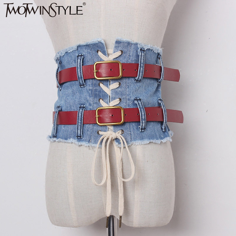 TWOTWINSTYLE Denim Female Belt Corset Wide Belt For Women Dresses Zipper Vintage Jeans Lace Up Clothes Accessories Korean 2019