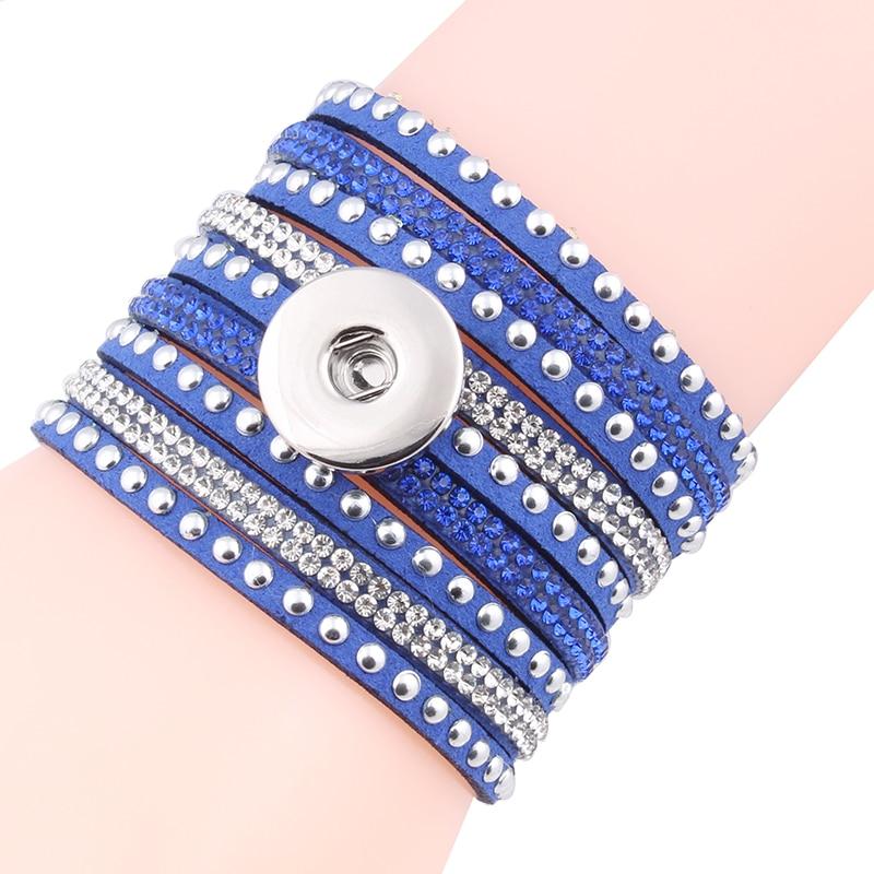 7 Colors Fashion Multilayer Rhinestone Leather Bracelet Crystal 18mm Snaps Button Bracelets&bangles For Women Fine Jewelry ZE185
