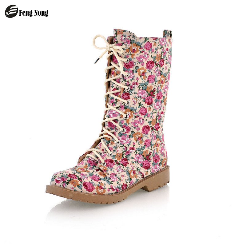 Fengnong Lace Up Women Boots Street Outdoor Style Girl's Flower 21cm Tube Boots Fashion Women Shoes Big Size 34-43 WBT61