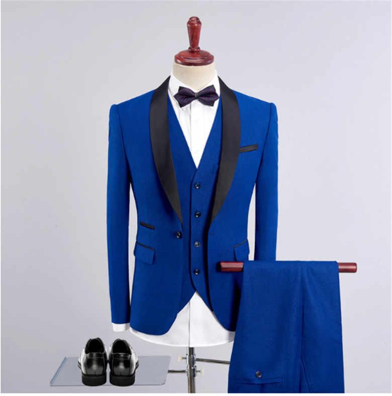 スリムフィットメンズスーツスーツロイヤルブルー最新コートパンツデザイン新郎ウェディングドレスタキシードワイン赤スーツ男性 3 個スーツ