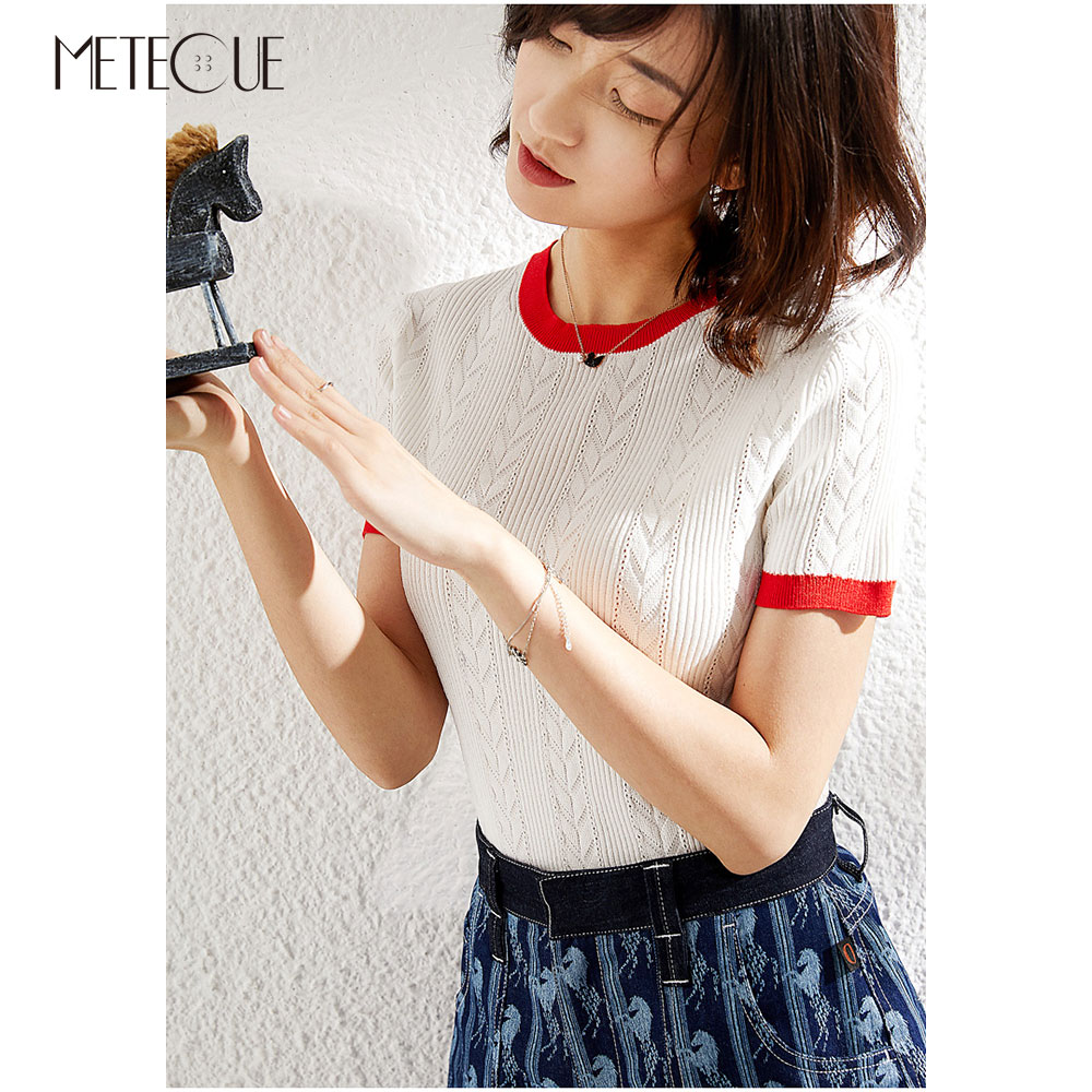 Contrast Color Knitted Women Tops 2019 Spring Summer Fashion Short Sleeve Women Sweaters 2019 Spring Summer