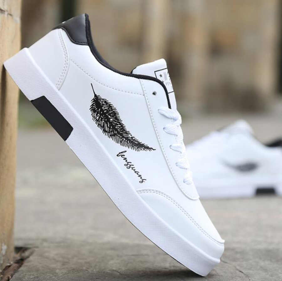 Lederen Schoenen Herfst En Winter Schoenen Explosie Modellen Mannen Schoenen Casual Mode Pu Sneakers Schoenen Veer Print Hot Koop