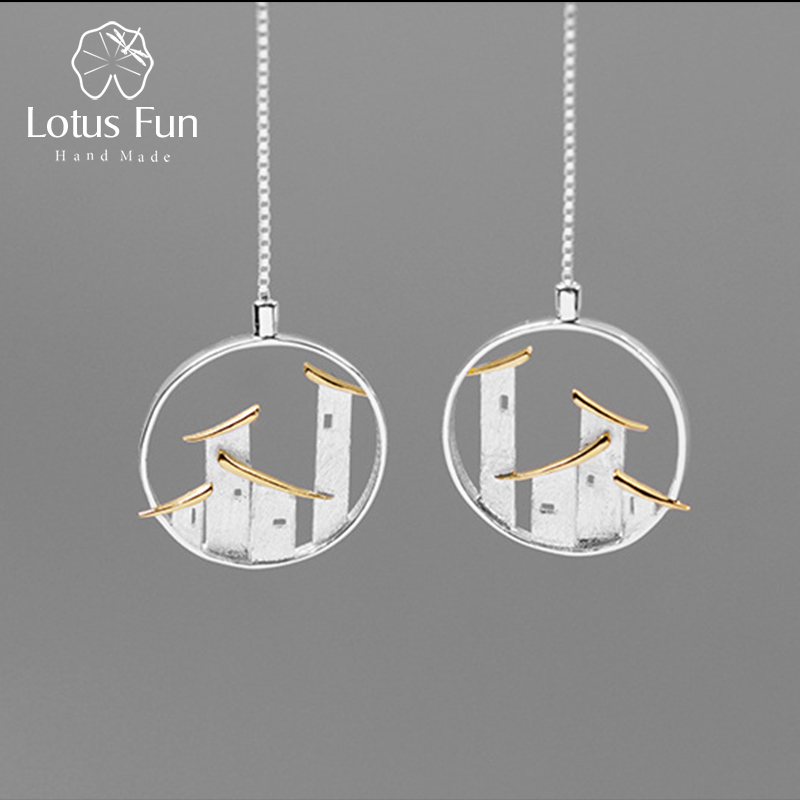 Lotus Fun Real 925 Sterling Silver Fine Jewelry Original Chinese Architectural Style Jiangnan Town Dangle Earrings For Women