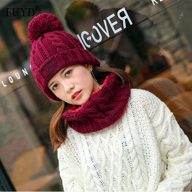 Letter Embroidery Skullies Beanies Pom Pom Hats And Scarves 2017 Winter Women Scarf Hat Set Knit Thick Velvet Cap Warm Gorros