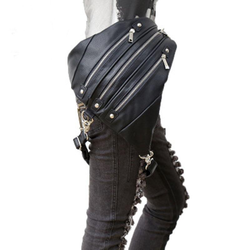 цена на NEW Unisex Rock Steam Punk Waist Bag Duffle Bag Travel Backpack Multi Function Men Women Vintage Shoulder Motorcycle Saddle Bags