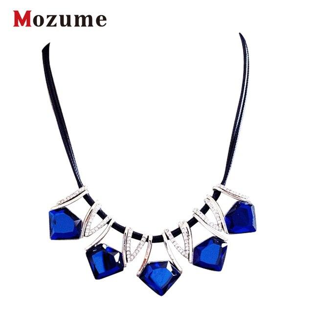 d06f6fbbeef3 Moda geométrica aleación choker collar colgante encanto azul gris  suspensión callor collar fino de moda joyería