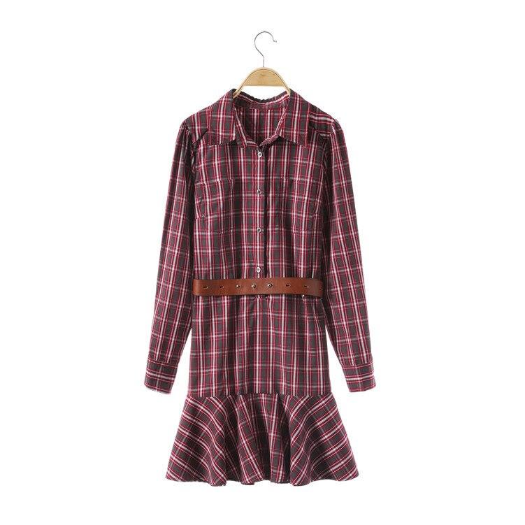2018 Plaid ceintures Blouse Preppy Style robe Designer femmes robe marque manches longues femmes mode Style robe 918