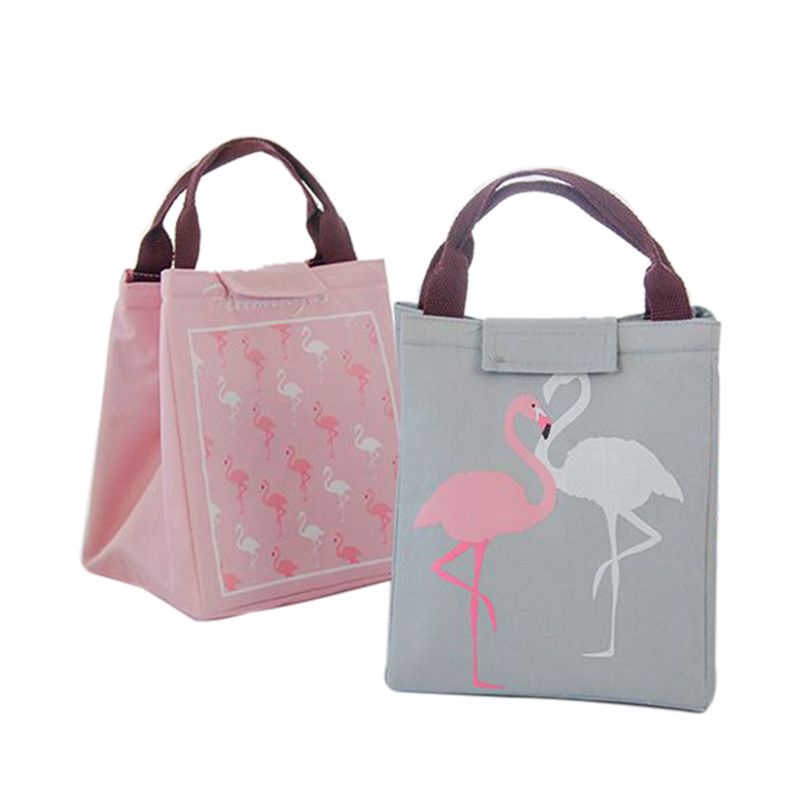 Hoomall Flamingo Waterproof Picnic Dinner Cold Insulation Lunch Bag Food Storage Bag Food Bag Fruit Container for Women kid Men