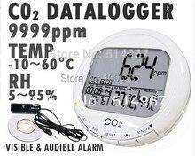3-в-1 Углекислого газа CO2 Рабочего Регистратор Монитор Качества Воздуха в Помещении Температура Относительная Влажность RH 0 ~ 9999ppm Часы