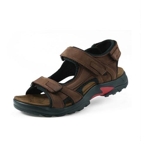 Brand Casual Men Genuine Leather Soft Sandals Comfortable Beach Shoes High-Quality Men Roman Summer Men Sandals large size 48 Lahore