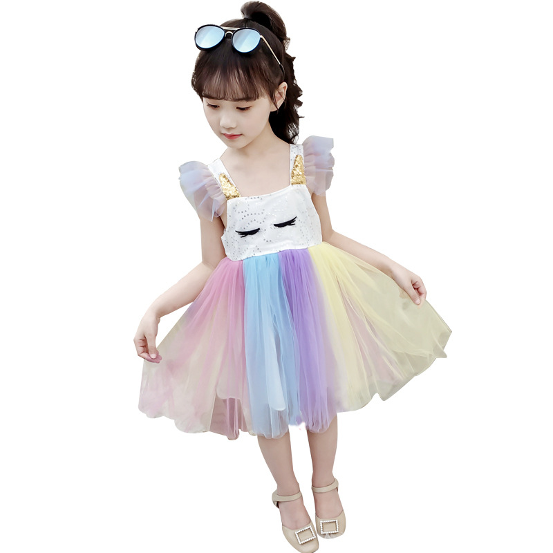 Elegant Girl Party Dress Summer Kids Mesh Lace Colored dresses little girls princess dress age 3 <font><b>5</b></font> 8 10 12Year Children Clothing image