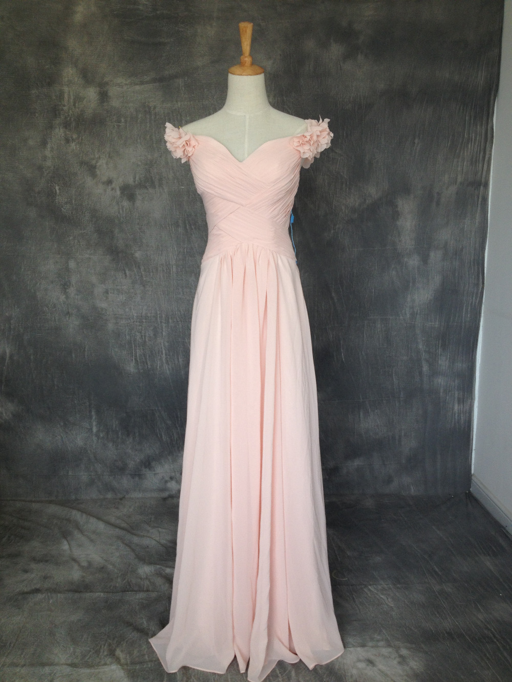 2015 flower long fashion baby pink bridesmaid dresses for for Baby pink wedding dress