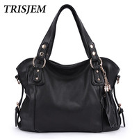 Brand 2016 Women European And American Style Luxury Shoulder Bags Hobos Designer Tassel Handbag Genuine Leather