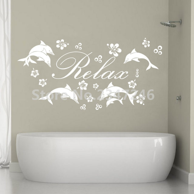 Customized Name Ocean Animals Mural Stickers Dolphins Flowers Bubbles Vinyl Wall  Decals For Kids Room Bathroom