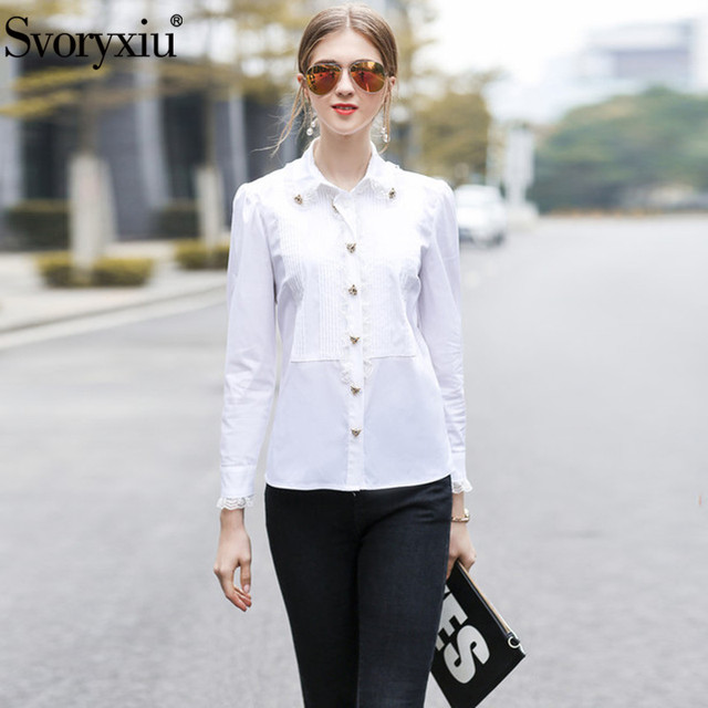 2f64b24ccbf Svoryxiu Designer Spring Summer White Cotton Blouse Shirts Women's Long  Sleeve Animal Button Elegant Office Lady Blouses Tops