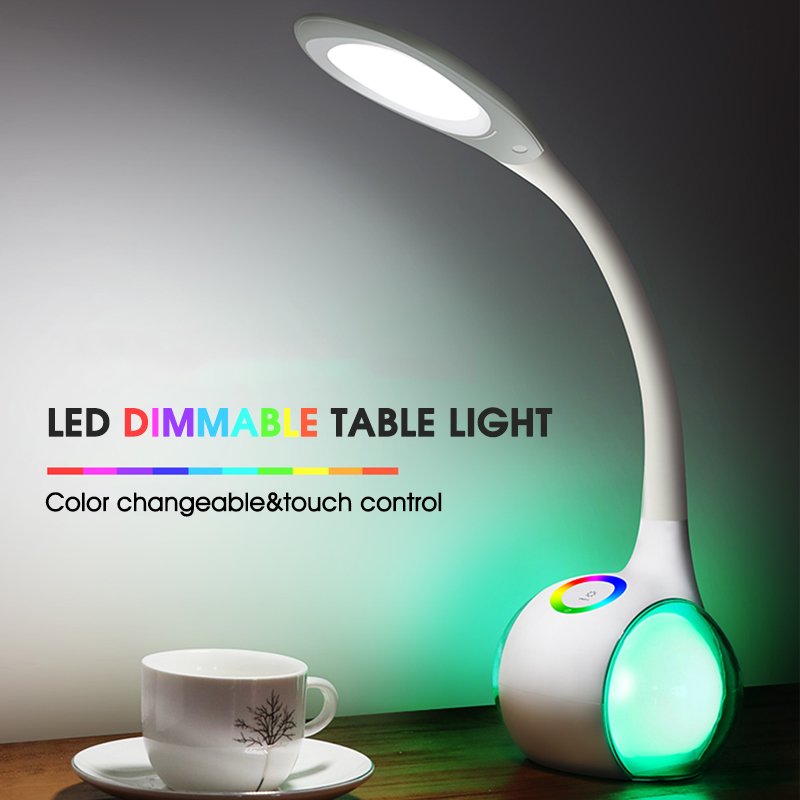 USB Rechargeable touch led desk lamp colorful book reading light Eye-Protection dimmable Flexible Night Light color changeable