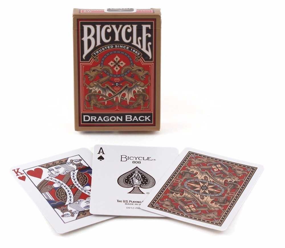 1 deck Bicycle Gold Dragon Back Playing Cards Magic Cards Poker Close Up Stage Magic Tricks for Professional Magician Free Ship