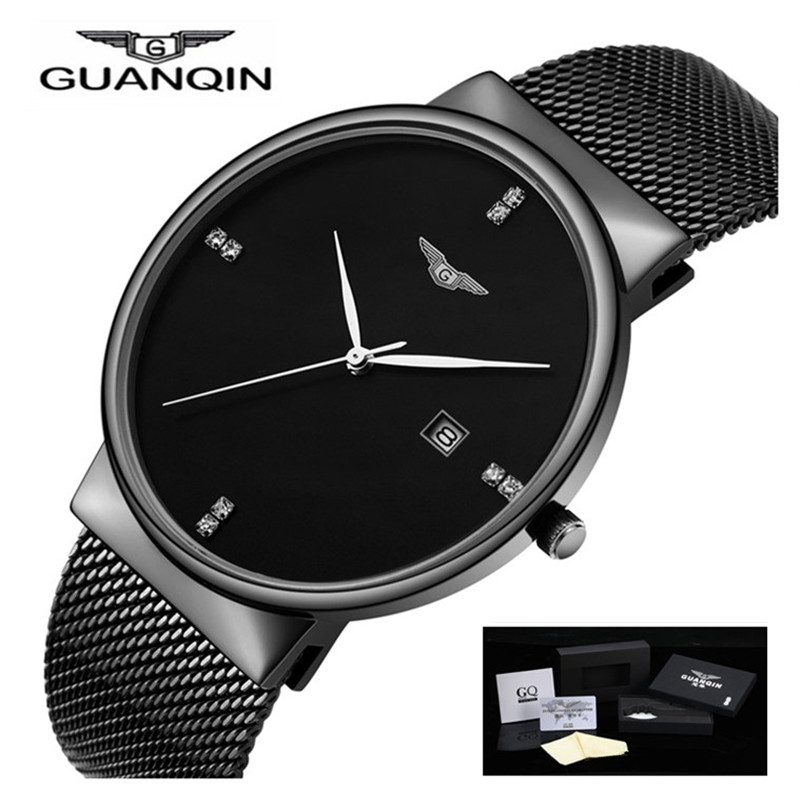 GUANQIN Men Watches 2017 Luxury Brand Watch Men Waterproof Quartz Date Stainless Steel Watches Mens Wristwatches relojes hombre цена и фото