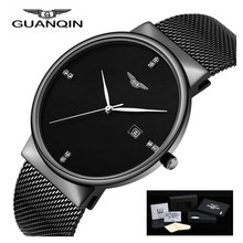 2017 GUANQIN Mens Watches Simple Quartz Watch Top Brand Date Waterproof Stainless Steel Men Wristwatch