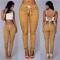 Calças mulheres 2016 moda verão sexy calças para as mulheres khaki casual multi bolso calças skinny basculadores calças lápis capris
