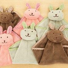 Полотенца для рук из бархата кораллового цвета с милыми мультяшными маленькими кроликами для кухни и ванной комнаты Скидка 40