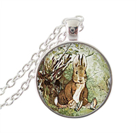 Rabbit pendant necklace grey bunny art painting jewlery glass dome pendant hare choker silver plated chain statement necklaces