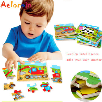 Aelorxin 2017 Puzzle 3d Puzzles for Children Cartoon Car Animal Wooden Kids Educational Toys Intelligence Brinquedo Educativo image