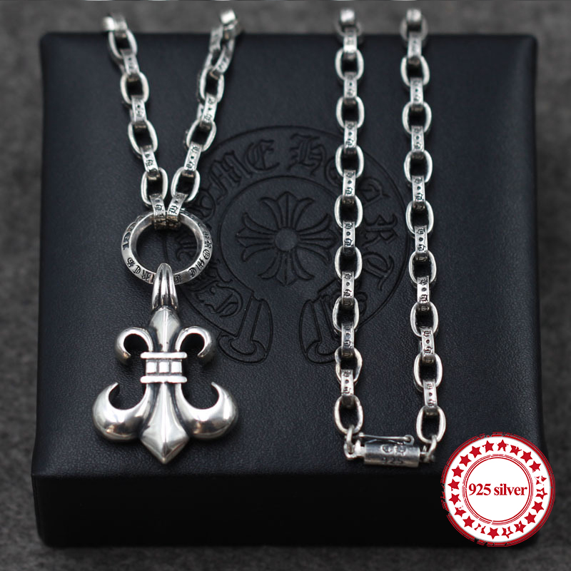S925 sterling silver necklaces pendants retro personality classic fashion punk style cross necklace pendants send lover's gift цена 2017