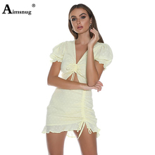 Sweet Female The Dress Light Yellow Wave Point Deep V-neck Lace up Short Sleeve Hem Drawstring 2019 New Summer Women Mini Dress