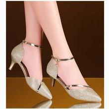 Пикантная обувь золотого цвета женская обувь на высоком каблуке Серебристая Свадебная обувь невесты туфли на высоких каблуках со стразами; туфли-лодочки Женские сандалии женская обувь