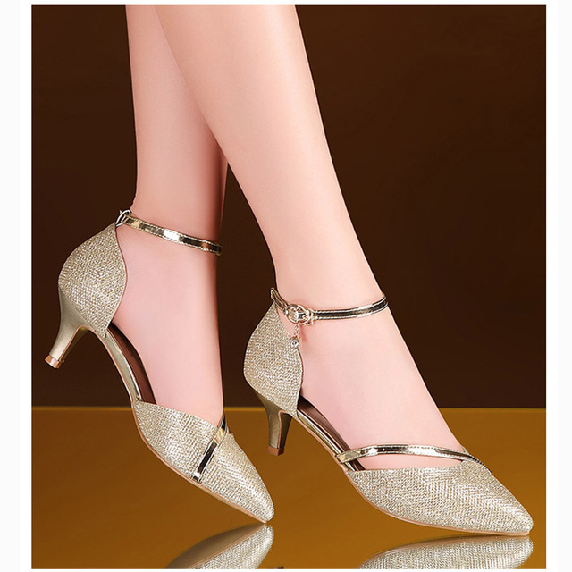 Sexy High Heels Shoes Woman Gold Silver Wedding Shoes Birde Rhinestones  High Heels Women Shoes Sandals ladies Shoes 2019 eb564eb4207