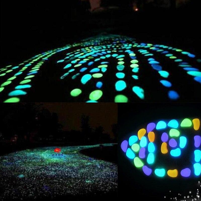 100PCS Glow in The Dark Garten Kiesel Glow Steine Felsen für Gehwege Garten Pfad Rasen Garten Yard Decor Luminous steine