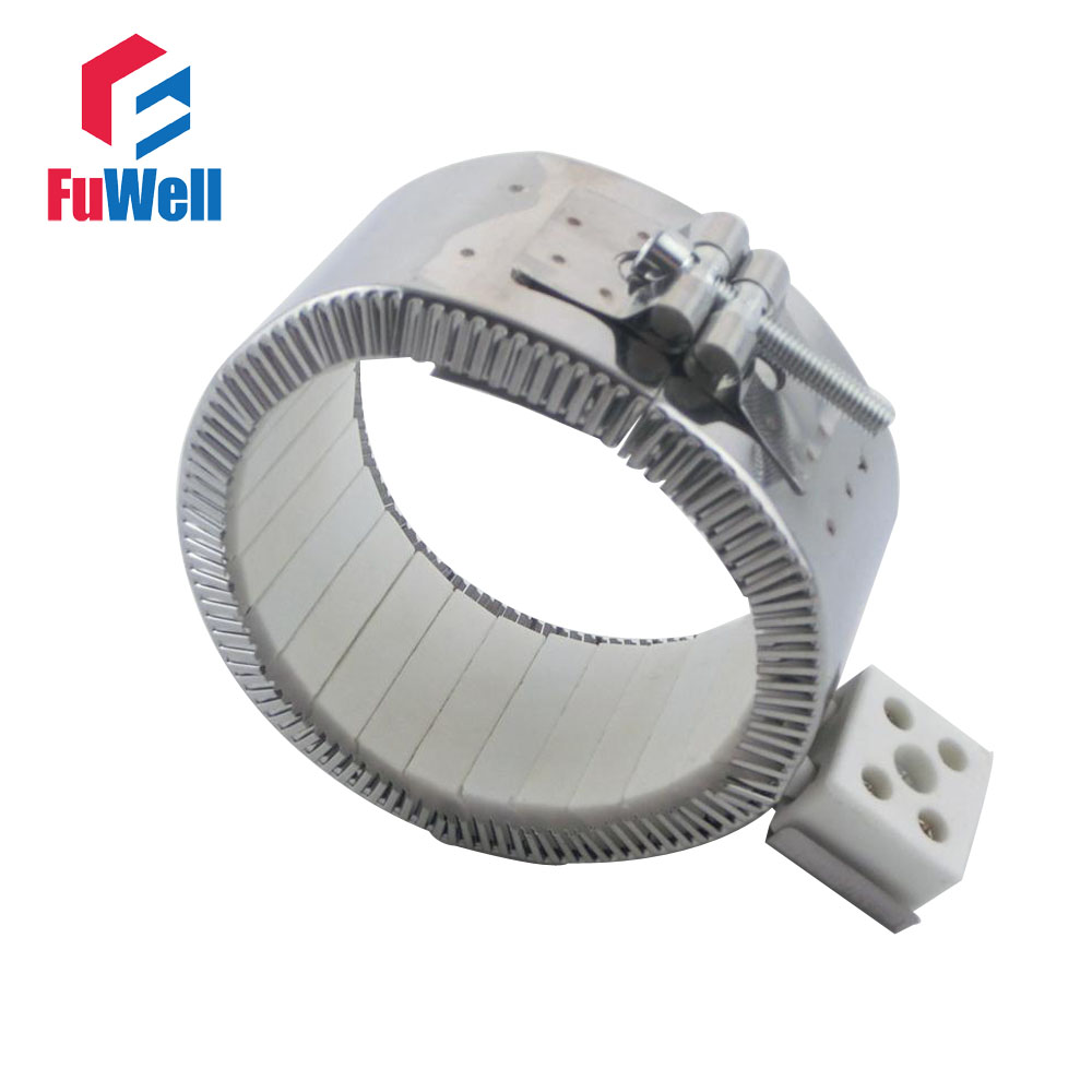 ФОТО 100mmx90mm 220V 1400W Ceramic Band Heater Heating Element Customized Welcomed