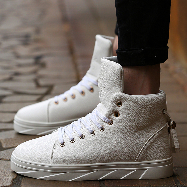 941cc3389554 Cool Fashion Skull Embossing Leather High Top Platforms Casual Shoes Mens  Ankle Boots Rocky Hip Hop Skate Shoes Flats wz Tassel