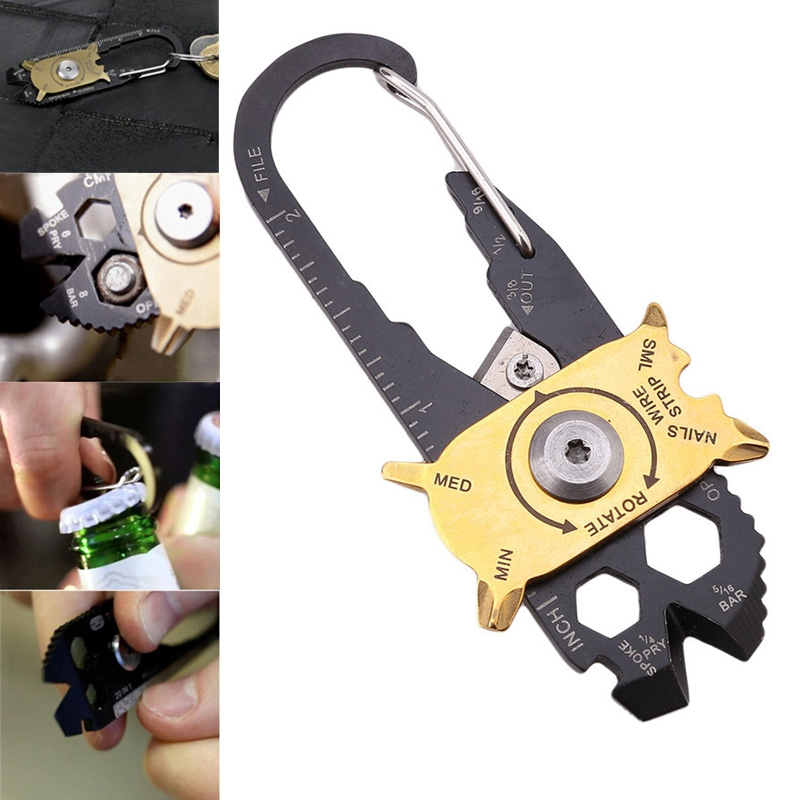 20 In 1 Multifunctional Carabiner Key Chain Hook Utility Ring Camping Buckles